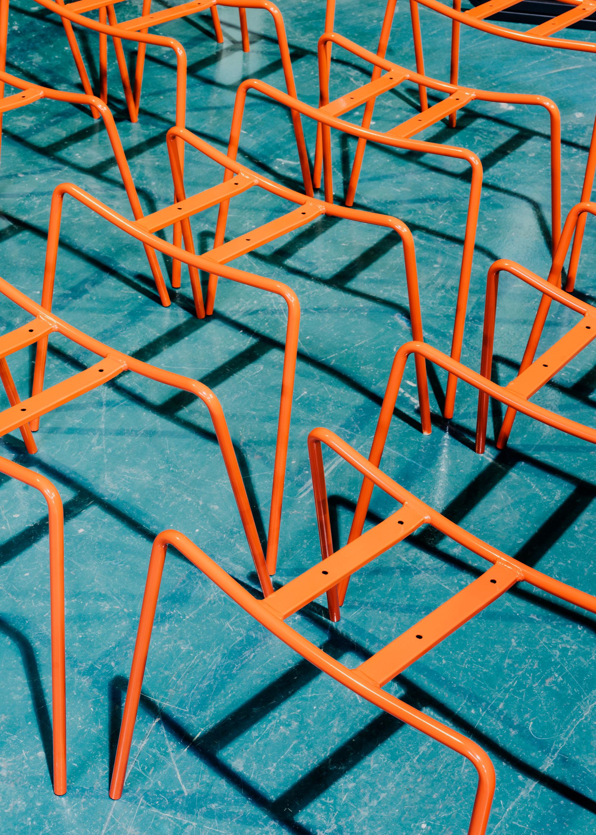 #furniture #enea #design #clase #basque #industry #chairs #orange #factory