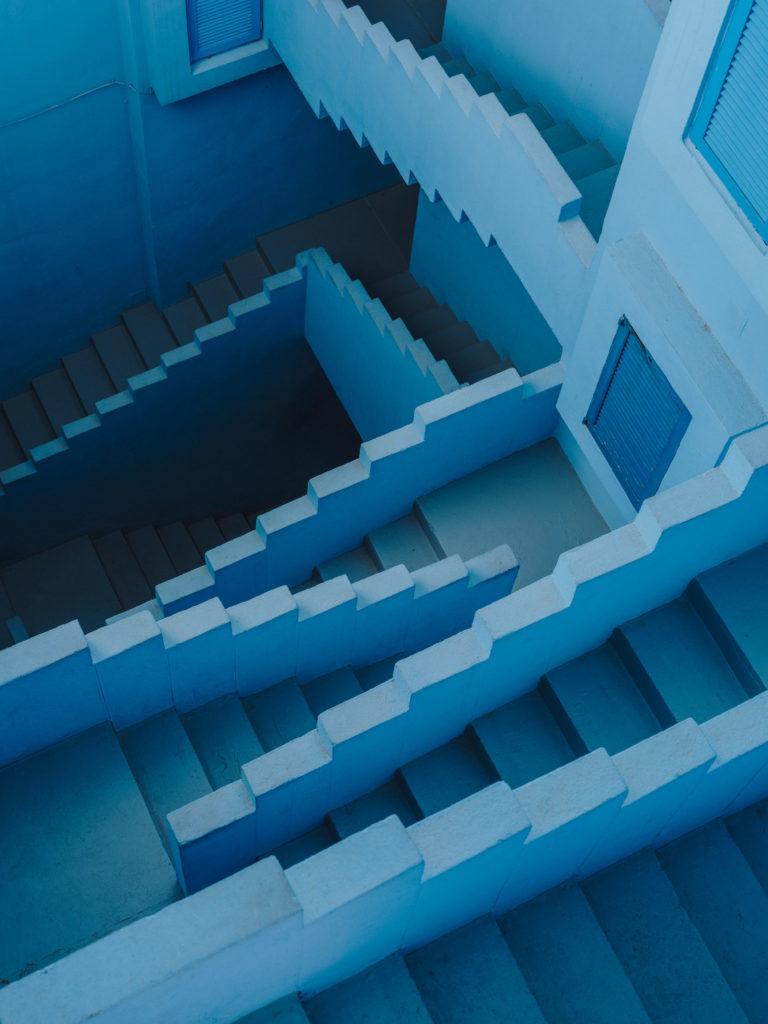 #xanadu #murallaroja #gestalten #visionsofarchitecture #bofill #calpe #valencia #spain #architecture #blue #stairs