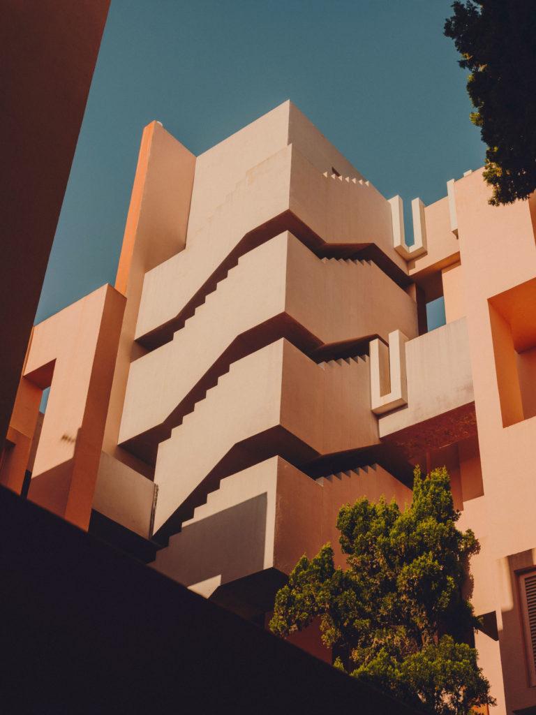 #xanadu #murallaroja #gestalten #visionsofarchitecture #bofill #calpe #valencia #spain #architecture #blue #pink #stairs