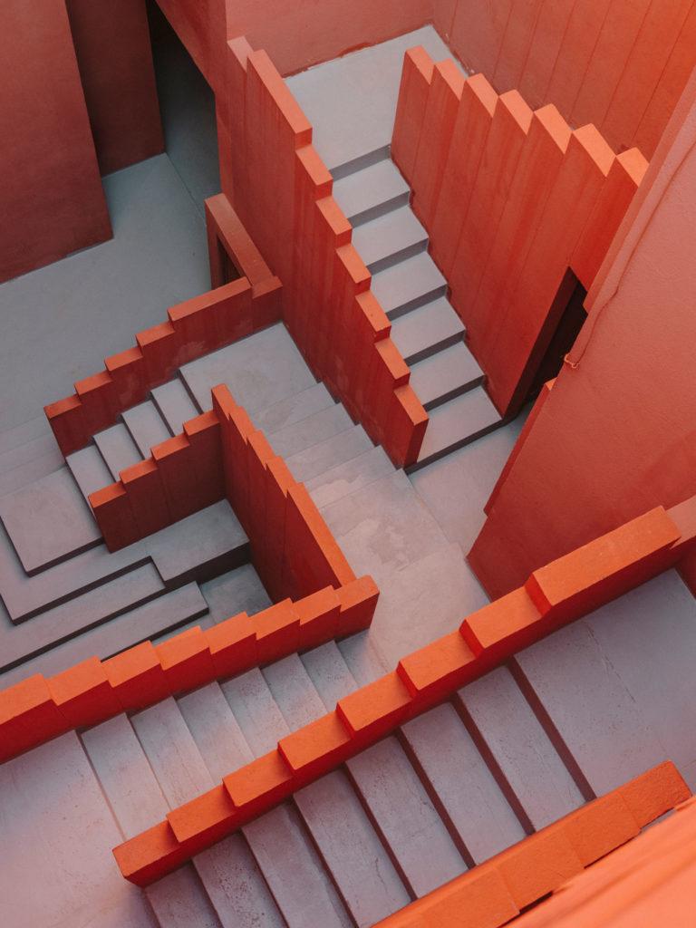 #ricardobofill #architecture #murallaroja #xanadu #green #calpe #spain #gestalten #alicante #stairs #pink